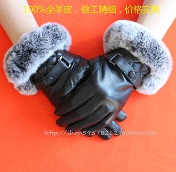 Fashion Ultralarge 2013 rex rabbit hair gloves sheepskin gloves women's genuine leather gloves winter thermal gloves
