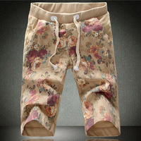 Men's flower shorts casual print capris pants 2013 summer color block mid waist trousers