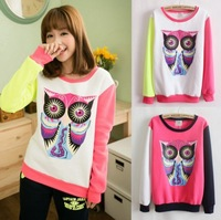 hot style big owl 4 color women's hoodies,high quality one size casual full sleeve sweatshirts free shipping