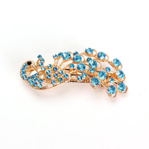 W7Tn New Fashion Blue Peacock Full Crystal Rhinestone Girls Hairpin Hair Clip(China (Mainland))