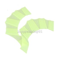 Silicone Green Swimming Fins Swim Webbed Gloves Hand Flippers Paddle Size S H1E1