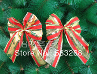 Free shipping 10pcs/lot Christmas tree decoration 20cm sheer double layer bow christmas decoration