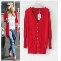 Autumn women's shell button medium-long long-sleeve sweater plus size cardigan female outerwear