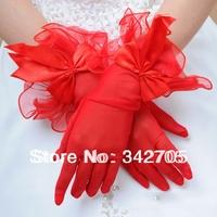 014 Bridal Wedding Gloves Wedding Accessories Red Gloves Finger wrist Free Size Wedding Gloves