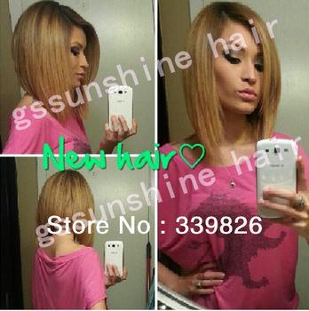 "Wholesale price! 14"" two tone ombre color 1b/27 bob style 100% virgin brazilian full lace wigs Free shipping"