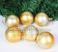 Free shipping 30pcs /lot Christmas tree decoration 5cm dull gold christmas ball plated ball