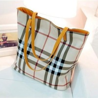 European and American fashion shopping bag checkered plaid handbag shoulder bag with three packages Picture