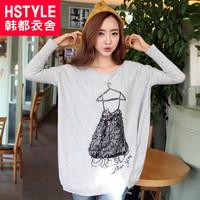 autumn women's rhinestones print batwing sleeve sweater lz1022