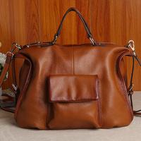 new 2013 women's genuine leather handbag calf skin fashion brief female  shoulder cross-body handbag large bags