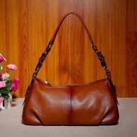 2013 female real genuine leather shoulder bag two color leather  shoulder women's handbag bag free shipping