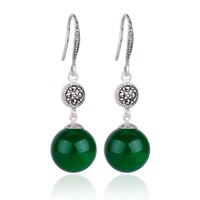 Royal vintage 925 pure silver jewelry silver earrings natural green agate round ball drop earring Women