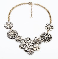 free shipping 2013 new design fashion clear crystal vintage flower choker necklace for women length 45cm