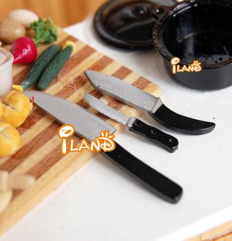 iland 1:12 Dollhouse Miniature Kitchen Furniture  accessories kitchen knife set 3 pcs