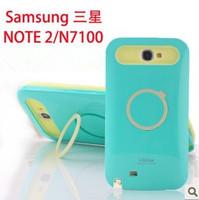 For samsung   n7100 phone case set samsung note 2 protective case silica gel color block finger ring mount