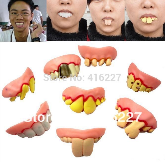 Min.order is $5 New 2014 Hot Selling 1 PCS Fake Joke Teeth False Teeth Rotten Teeth Party Fancy Halloween Joker(China (Mainland))