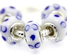 200pcs 925 Silver Murano Glass Beads Fit All European Charm Bracelet hallmarked f56(China (Mainland))