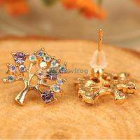 Fashion Women Rhinestone Pierced Hollow Christmas Tree Earrings Ear Stud S7NF