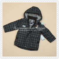 Children thick velvet plaid long-sleeved hooded coat jacket boys SCB-3033 Free Shipping 2014 Sunlun Russian Support