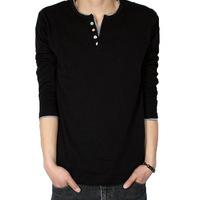 HOT SALE !2013 autumn outfit new men leisure long-sleeved T-shirt cotton plus-size v-neck t-shirts FREE SHIPPING ! Szie:S-XXXL