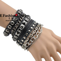 Avril punk bracelet rivet multi-layer fashion accessories genuine leather bracelet hand-rope