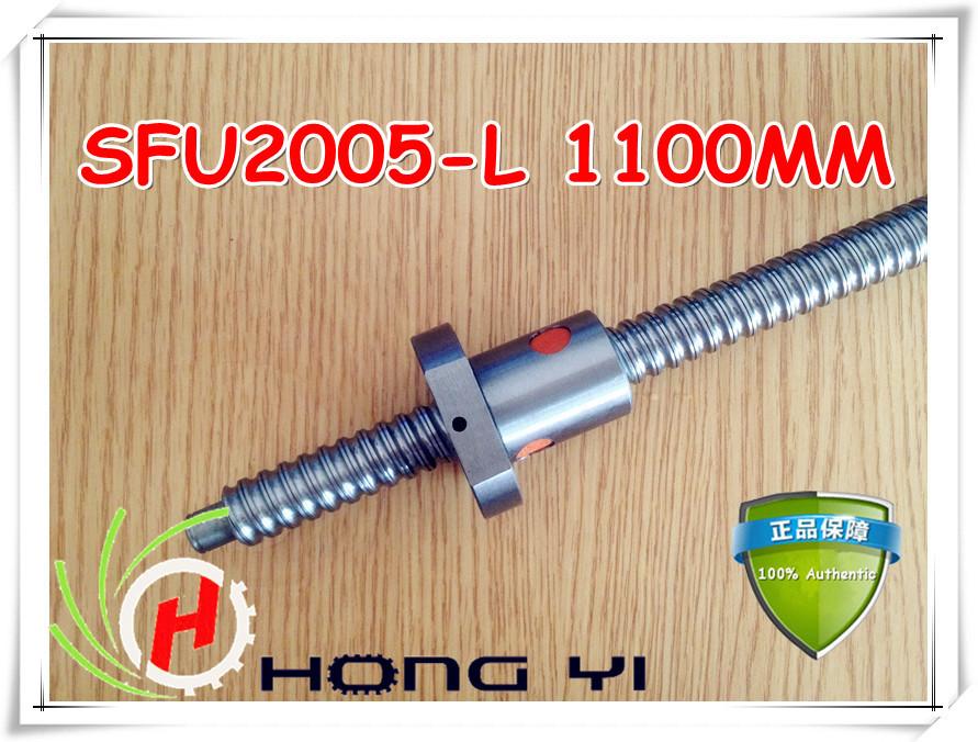 Ball screw RM2005 -L1100mm + 1pcs SFU2005 single ballnut + end machining for CNC Linear Working Table(China (Mainland))
