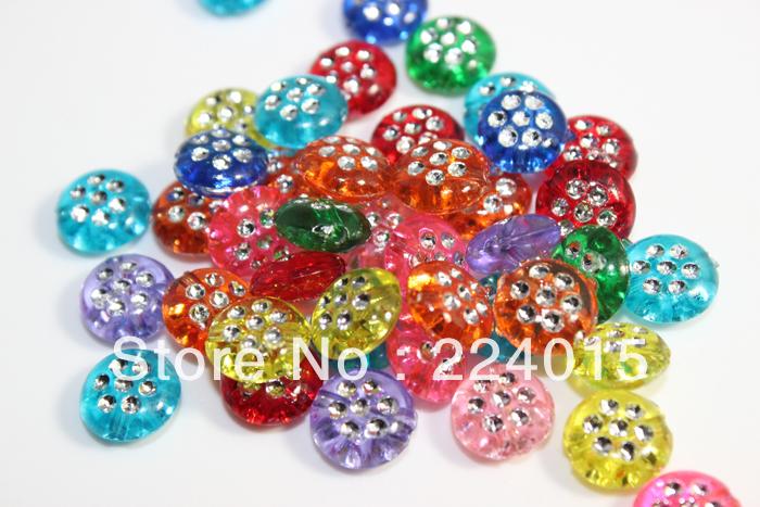 Free Shipping 300pcs/10mm Random Mixed Color Round Foil Dot Charm Acrylic Bling Rhinestone Beads Jewelry Acessories DIY,JB37#(China (Mainland))