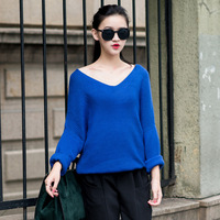 fi0413 Autumn and Winter Vintage Korean Loose Bat Sleeve V-neck Women Knitting Sweater Free Shipping