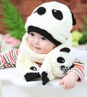 lovely cute kids baby girls girl's boy boys children cartoon panda winter hat hats cap caps +scarf set for children kids baby