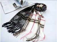 New Arrive Fashion stripe plaid scarf Female models the velvet ACRYLIC scarf super long scarf Women Scraf A1011