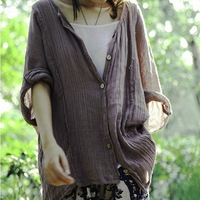 Fluid women's 2013 autumn vintage fresh 100% fifth sleeve cotton shirt women's