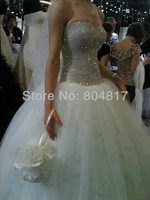 High-end Design EA0039 Sweetheart Heavy Beading Diamond Ball Gown Wedding Dress
