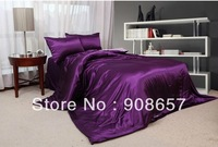 luxurious smooth imitated silk fabric girls bedding purple solid color comforter bed in a bag queen/full duvet quilt covers sets