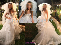 Hot Sale EA0043 Sweetheart Neckline Ruffle Layer Skirt Organza Lace Wedding Dress