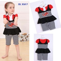 wholesale 2013 new summer girl suit striped clothing girl 3pcs set clothing free shipping 5set/lot