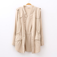 2013 autumn women's fashion handsome little stand collar lacing loose fluid trench outerwear
