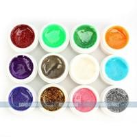 NEW Set Glitters Powder Pure UV Gel Nail Polish DIY Decoration 12 Pots for Free shipping