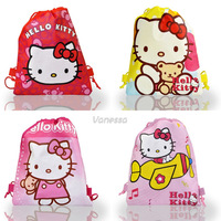 Party gifts .Free shipping Wholesale 4PCS KITTY Non-woven fabrics Kid's School bag ,Cartoon Drawstring Backpack bags