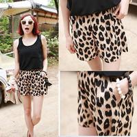 2013 Womens Trendy Leopard Grain Leisure Shorts Bandwidth Casual Stretchy Pants