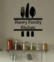 5pcs/lot Wall Decal Art Sticker Quote Vinyl Family Kitchen Custom Name Home Decor Wall Decal