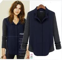 2013 Europe style new arrival turn-down collar all-match long-sleeve shirt autumn fashion medium-long street blouse a01