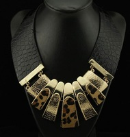 Wide Black Leather with Gold Leopard Stripes Chunky Statement Choker Collar Necklace