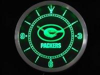 nc0505 Green Bay Packers Neon Sign LED Wall Clock Wholesale Dropshipping