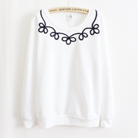 2013 Autumn and Winter Korea Women cotton fleece sweatshirts pure color lace coat wholesale and retail high quality WH-010