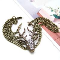 Vintage Fashion Animal Deer Head Antique Bronze Chain Bracelet