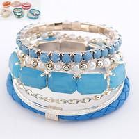 Hot Sale Designer Fashion Bohemia Arcylic Solid Color Plastic Beads Beaded Multi Layers Bracelet Bangle