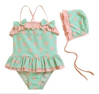 New 2013 summer children's clothing kids swim clothes girls princess dot one-piece bathing suit infants baby swimming cap