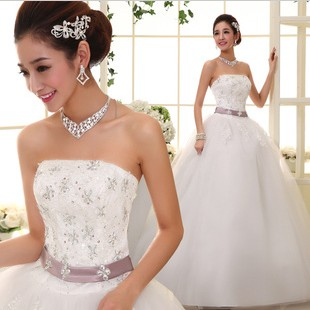 Slim tube top wedding dress sweet elegant