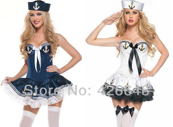 Chegam novas grátis frete Strapless Sailor Cosplay Halloween Costume com chapéu lovely Mini vestido Navy Costume(China (Mainland))