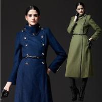 Women X-long wool trech coat winter military wear double breasted windproof belt jacket supernova sale drop shipping WW9224