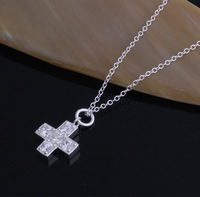 2014 new products silver cross pendant letters  925 sterling silver jewelry wholesale crystal pendants free shipping YAN047